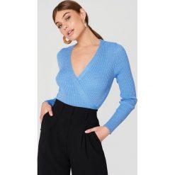 Swetry klasyczne damskie: Trendyol Kopertowy sweter - Blue