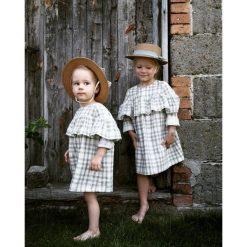 Sukienka z falbanką, DOUBLE. Szare sukienki dziewczęce z falbanami marki Pakamera, w kratkę, z bawełny, z długim rękawem, długie. Za 95,00 zł.