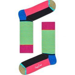 Happy Socks - Skarpetki Half Stripe. Zielone skarpetki damskie Happy Socks, z bawełny. Za 39,90 zł.