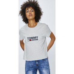 Tommy Jeans - Top. Szare topy damskie Tommy Jeans, l, z nadrukiem, z bawełny, z okrągłym kołnierzem. Za 159,90 zł.