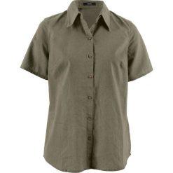 Bluzki damskie: Bluzka lniana z krótkim rękawem bonprix ciemnooliwkowy