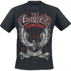 T-shirty męskie z nadrukiem: Gas Monkey Garage Custom Garage Wings T-Shirt czarny