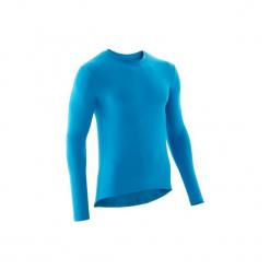 Podkoszulka długi rękaw na rower szosowy 100. Niebieskie podkoszulki męskie marki B'TWIN, xl, z materiału, z długim rękawem. Za 29,99 zł.