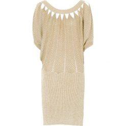 Sukienki hiszpanki: Sukienka bonprix beżowo-złoty