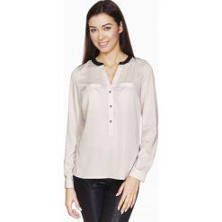 Bluzki damskie: Beżowa Elegancka Koszulowa Bluzka z Kontrastowym Karczkiem