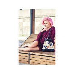 Mała torba worek Mili Chic MC8 - czarna liście. Czarne torebki klasyczne damskie marki Militu, w paski, z bawełny, małe. Za 179,00 zł.
