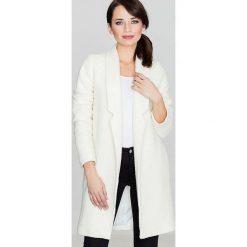 Płaszcze damskie: Przejściowy Ecru Płaszcz bez Zapięcia