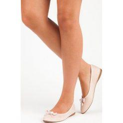 Baleriny damskie lakierowane: Eleganckie zamszowe baleriny LILIANA odcienie brązu i beżu