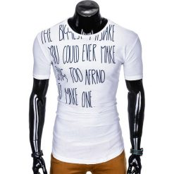T-SHIRT MĘSKI Z NADRUKIEM S1001 - BIAŁY. Zielone t-shirty męskie z nadrukiem marki Ombre Clothing, na zimę, m, z bawełny, z kapturem. Za 29,00 zł.
