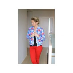 Damska wzorzysta bluza dresowa w kwiaty, kurtka bomberka na suwak. Szare bomberki damskie marki ekoszale, xl, w kwiaty, z dresówki. Za 170,00 zł.
