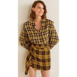Mango - Koszula Lea. Brązowe koszule damskie w kratkę marki Mango, l, z materiału, klasyczne, z klasycznym kołnierzykiem, z długim rękawem. Za 139,90 zł.