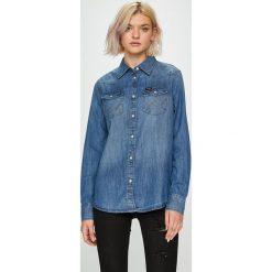 Wrangler - Koszula Western Denim. Szare koszule damskie marki Wrangler, na co dzień, m, z nadrukiem, casualowe, z okrągłym kołnierzem, mini, proste. Za 259,90 zł.