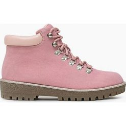 Różowe Trapery Lake. Czerwone buty zimowe damskie Born2be, z materiału, z okrągłym noskiem, na obcasie. Za 119,99 zł.