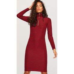 Sukienka w paski - Bordowy. Czerwone sukienki marki Reserved, l, w paski. Za 139,99 zł.