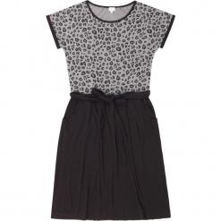 """Sukienka """"Milly"""" w kolorze czarno-szarym. Czarne sukienki na komunię marki Ateliers de la Maille, na imprezę, z motywem zwierzęcym, z okrągłym kołnierzem, midi. W wyprzedaży za 227,95 zł."""