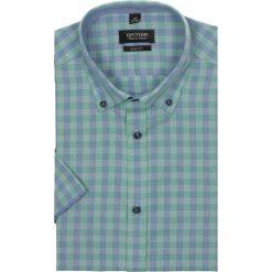 Koszula bexley 2307 krótki rękaw slim fit zielony. Zielone koszule męskie jeansowe marki Recman, na lato, l, w kratkę, button down, z krótkim rękawem. Za 29,99 zł.