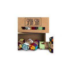 Kolorowe skarpetki - zestaw Spox Sox. Brązowe skarpetki męskie marki Spox sox, w kolorowe wzory, z bawełny. Za 120,00 zł.