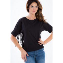 Czarny t-shirt z frędzlami BB20223. Białe t-shirty damskie marki Fasardi, l. Za 39,00 zł.