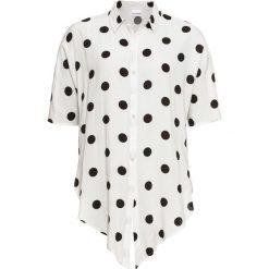 Bluzka z krótkim rękawem i przewiązaniem bonprix biel wełny w grochy. Białe bluzki z odkrytymi ramionami bonprix, w grochy, z wełny, z krótkim rękawem. Za 74,99 zł.