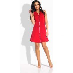 Sukienki: Czerwona Sukienka Rozkloszowana bez Rękawów z Suwakiem