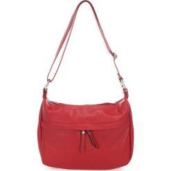 Torebki klasyczne damskie: Skórzana torebka w kolorze czerwonym – 32 x 23 x 12 cm