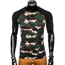 T-SHIRT MĘSKI Z NADRUKIEM S1009 - BRĄZOWY/MORO. Zielone t-shirty męskie z nadrukiem marki Ombre Clothing, na zimę, m, z bawełny, z kapturem. Za 35,00 zł.
