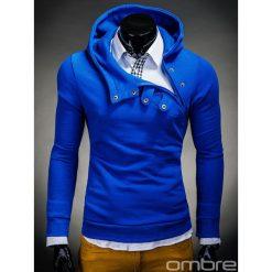 BLUZA MĘSKA Z KAPTUREM PACO - NIEBIESKA. Niebieskie bluzy męskie rozpinane Ombre Clothing, m, z bawełny, z krótkim rękawem, krótkie, z kapturem. Za 69,00 zł.