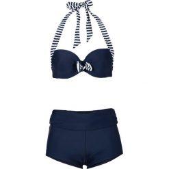 Bikini na fiszbinach (2 części) bonprix niebiesko-biały. Niebieskie bikini bonprix, z haftami. Za 109,99 zł.