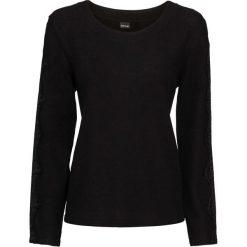 Swetry klasyczne damskie: Sweter z koronkowymi wstawkami bonprix czarny