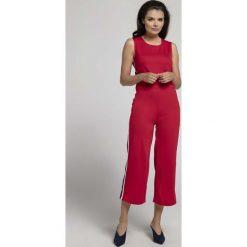 Czerwony Kombinezon z Szerokimi Nogawkami z Lampasem. Brązowe kombinezony eleganckie marki numoco, l, w paski, z dekoltem na plecach. W wyprzedaży za 99,42 zł.