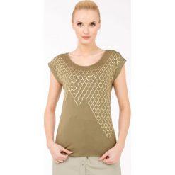 T-shirt z efektowną aplikacją. Szare t-shirty damskie Monnari, z aplikacjami, z wiskozy. Za 51,60 zł.
