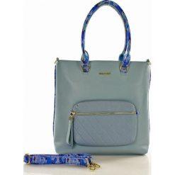 Nowoczesny shopper z kieszonką niebieska ADALYN. Szare shopper bag damskie marki Monnari, w paski, z materiału, duże. Za 169,00 zł.