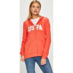 U.S. Polo - Bluza. Pomarańczowe bluzy z kapturem damskie marki U.S. Polo, l, z nadrukiem, z bawełny. W wyprzedaży za 269,90 zł.