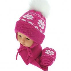 Czapka niemowlęca z szalikiem i rękawiczkami CZ+S+R 012A. Różowe czapeczki niemowlęce Proman. Za 46,14 zł.