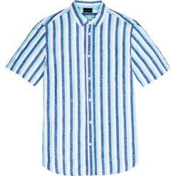 Koszule męskie: Koszula w paski z krótkim rękawem Regular Fit bonprix niebiesko-jasnozielono-biały w paski