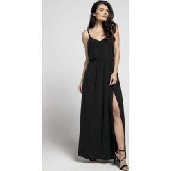 Czarna Zwiewna Maxi Sukienka na Cienkich Ramiączkach z Rozcięciem. Niebieskie długie sukienki marki bonprix, z nadrukiem, na ramiączkach. W wyprzedaży za 139,41 zł.