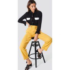 Spodnie damskie: NA-KD Trend Szerokie spodnie z wysokim stanem - Yellow