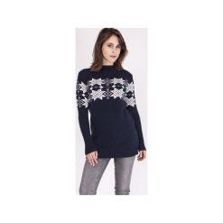 Sweter w skandynawskie wzory, SWE128 granat/ecru MKM. Białe swetry klasyczne damskie Mkm swetry, na zimę, l, z dzianiny. Za 143,00 zł.