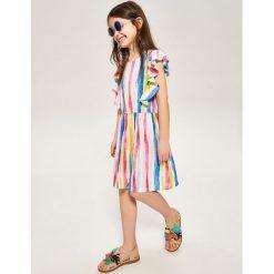 Sukienka w paski - Wielobarwn. Różowe sukienki dziewczęce marki Pakamera, z długim rękawem, długie. Za 139,99 zł.