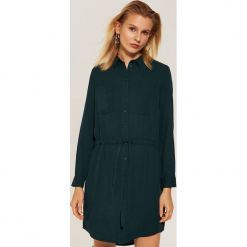 Koszulowa sukienka - Khaki. Brązowe sukienki House, l, z koszulowym kołnierzykiem, koszulowe. Za 79,99 zł.