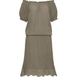 """Sukienki: Sukienka """"carmen"""" z dłuższymi bokami bonprix szaro-zielony"""