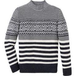 Sweter wzorzysty Regular Fit bonprix czarno-biel wełny. Czarne swetry klasyczne męskie bonprix, l, z wełny. Za 129,99 zł.