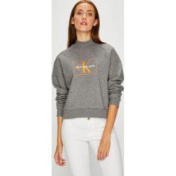 Calvin Klein Jeans - Bluza. Szare bluzy rozpinane damskie Calvin Klein Jeans, l, z nadrukiem, z bawełny, bez kaptura. Za 399,90 zł.
