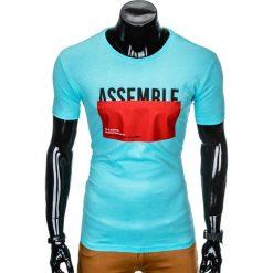 T-shirty męskie: T-SHIRT MĘSKI Z NADRUKIEM S924 - BŁĘKITNY