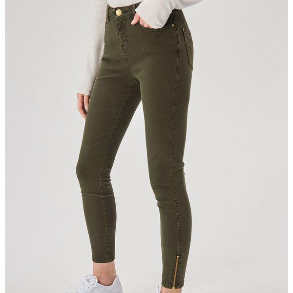Spodnie skinny z wysokim stanem Khaki