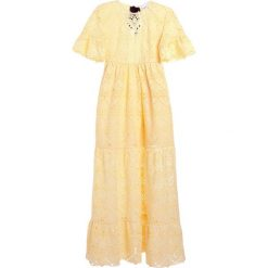 Długie sukienki: PERSEVERANCE LONDON AZTEK GUIPURE LACE OPEN BACK GOWN Długa sukienka soft yellow
