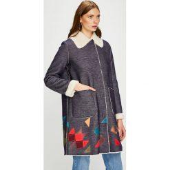 Trussardi Jeans - Płaszcz. Niebieskie płaszcze damskie wełniane marki Reserved. W wyprzedaży za 1299,00 zł.
