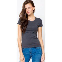Bluzki damskie: Bluzka basic krótki rękaw okrągły dekolt antracyt