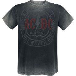 AC/DC Rock & Roll - Will Never Die T-Shirt ciemnoszary. Szare t-shirty męskie z nadrukiem AC/DC, s, z okrągłym kołnierzem. Za 99,90 zł.