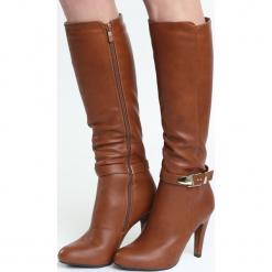 Camelowe Kozaki Sobriety. Brązowe buty zimowe damskie marki Born2be, z materiału, na wysokim obcasie, na obcasie. Za 64,99 zł.